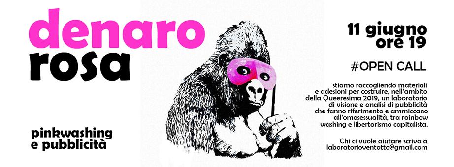 QUEERESIMA 2019: martedì 11/06 ore 19 Laboratorio >> DENARO ROSA. Il pinkwashing nelle pubblicità